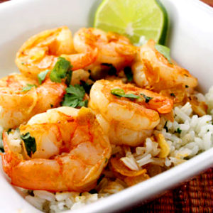 Garlic Ginger Shrimp With Coconut Rice