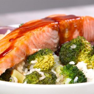 Broiled Salmon & Coconut Rice